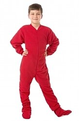 Red Fleece Footed Onesie Pajamas for Boys & Girls