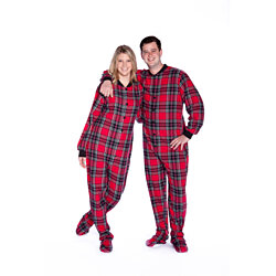 Red Plaid Cotton Flannel Adult Onesie Footed Pajamas for Men & Women