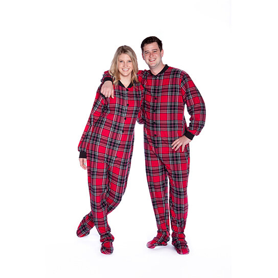 4646169ee Buy Red Plaid Cotton Flannel Adult Onesie Footed Pajamas for Men ...