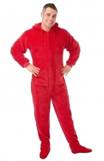 d2bdd58b1 Buy Red Plush Hoodie Footed Onesie Pajamas for Men & Women by Big Feet  Pajama Company on OpenSky