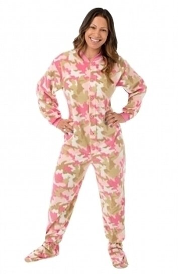 07333cd49c Trending product! This item has been added to cart 69 times in the last 24  hours. Womens Pink Camo Micro-polar Fleece Adult Footie Footed Pajamas