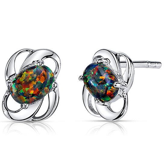 buy black opal earrings sterling silver by bijouxx on opensky
