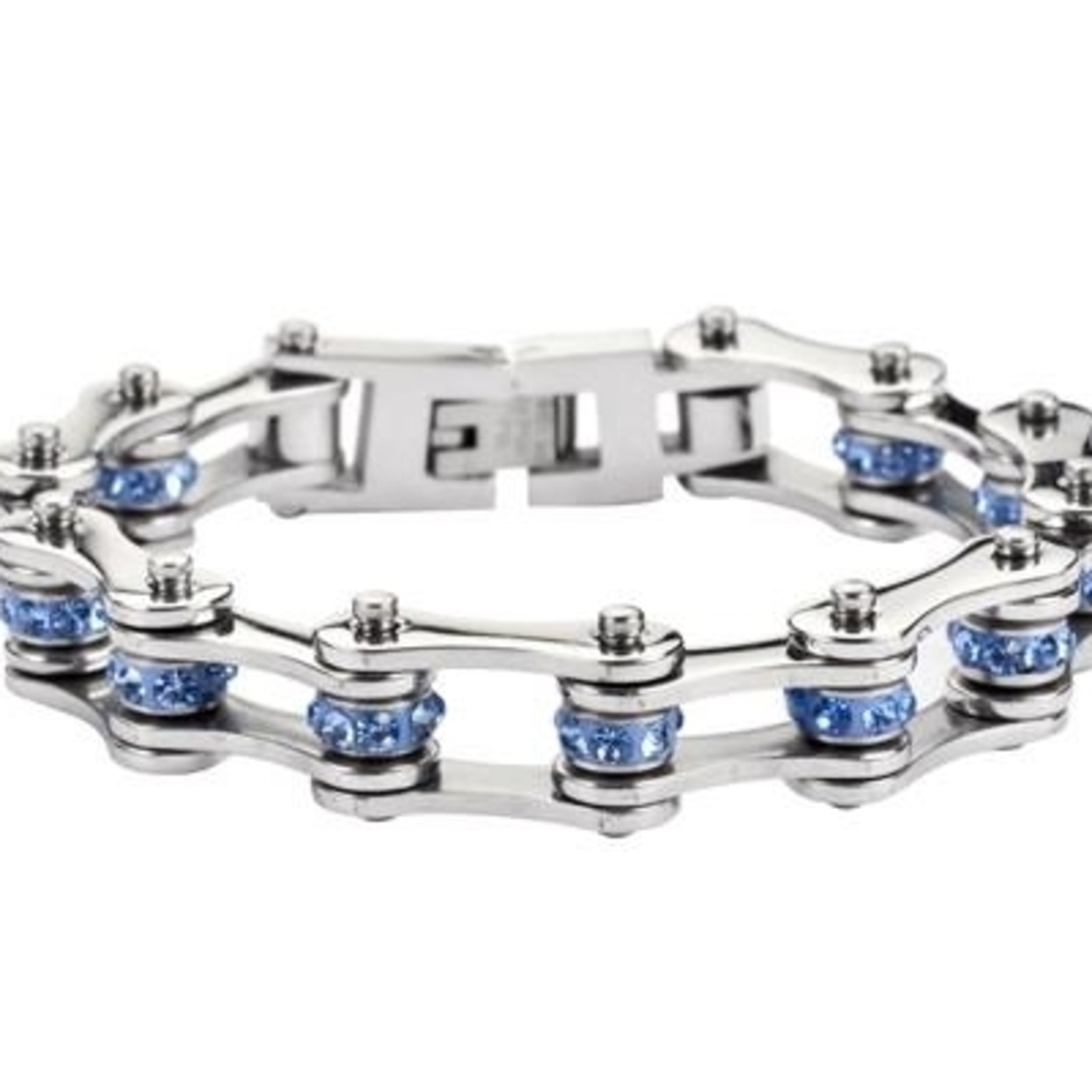 """Sk1205 1/2\"""" Wide All Stainless With Blue Crystal Centers Stainless Steel Motorcycle Bike Chain Bracelet - 7.25 59d561d8c98fc4050d0e1449"""