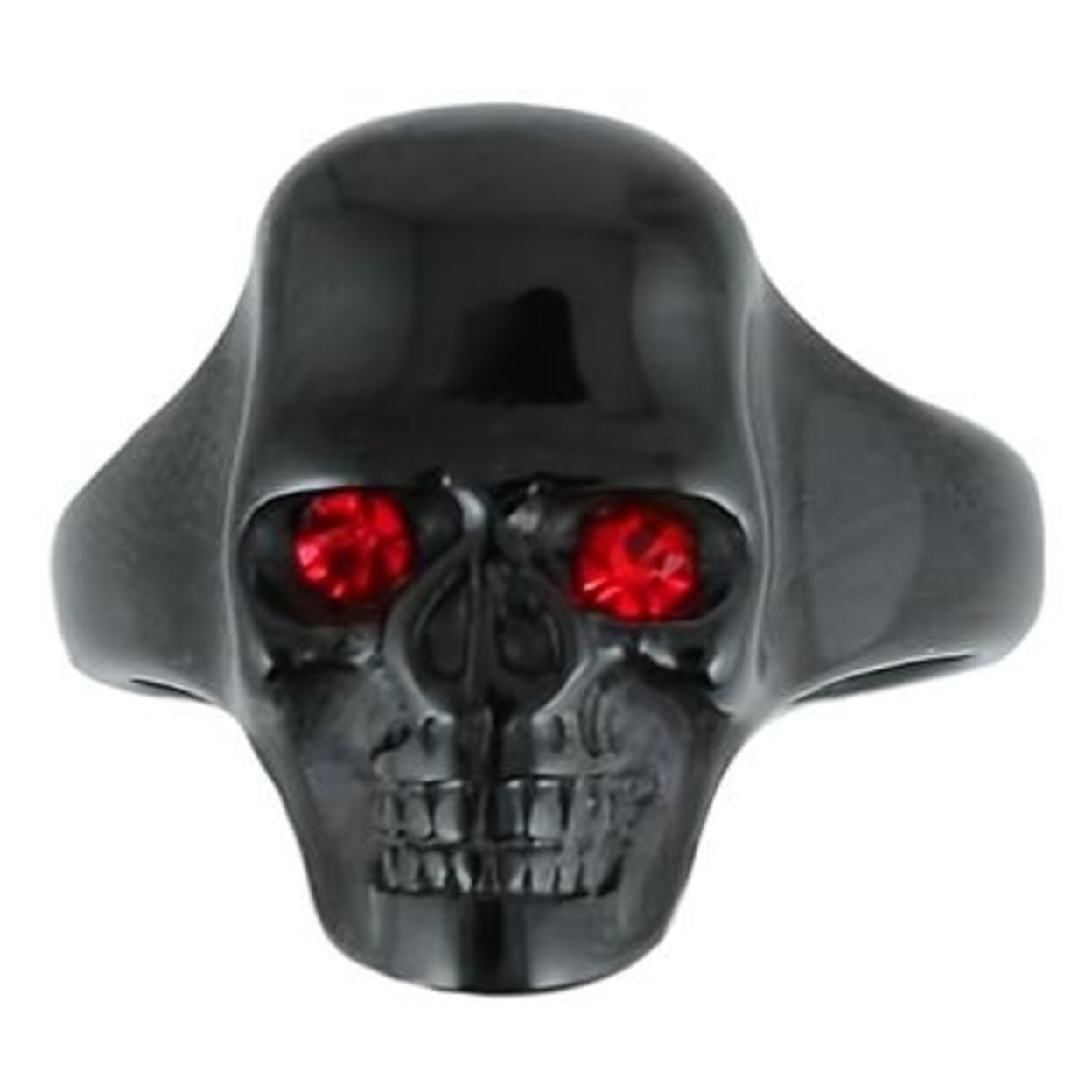 Sk1854 Gents Black Skull With Imitation Ruby Eyes Ring Stainless Steel Motorcycle Biker Jewelry 9