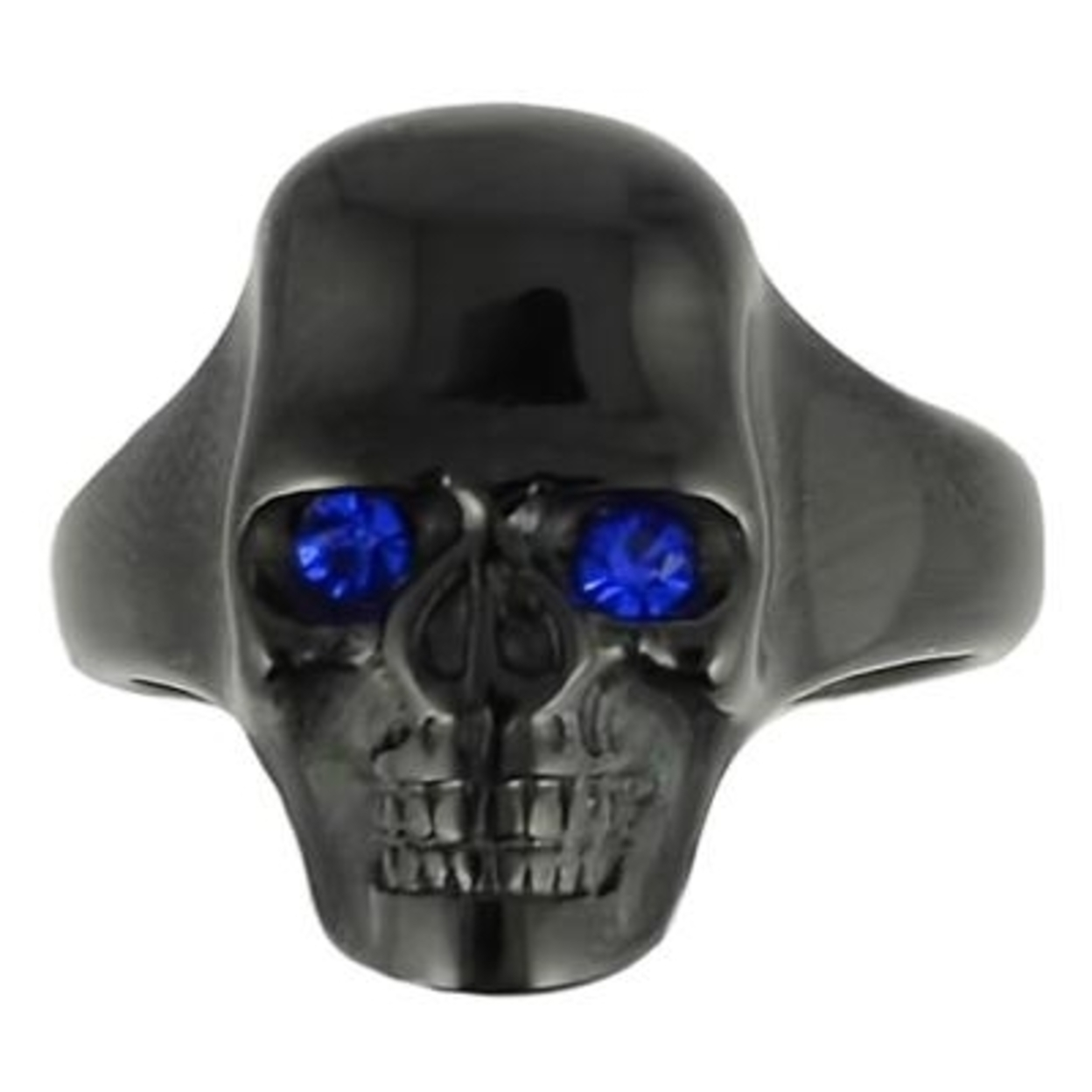 Sk1856 Gents Black Skull With Imitation Sapphire Eyes Ring Stainless Steel Motorcycle Biker Jewelry 9