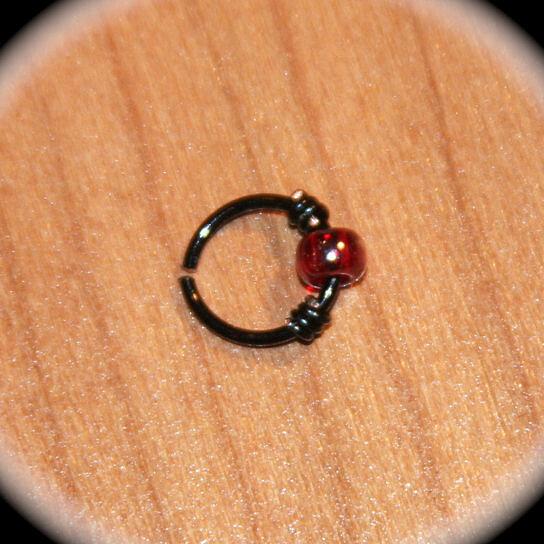 buy wine beaded black wired cartilage hoop earrings