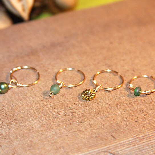 Buy Set of Four Cartilage Earrings, Green Beaded Nose ...