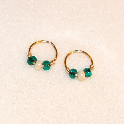 small 18 cartilage earrings teal white beaded nose