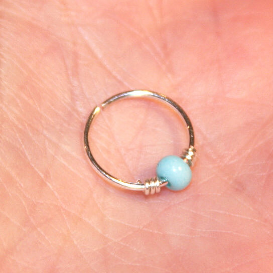 Buy Small Cartilage Earrings Turquoise Beaded Nose Ring