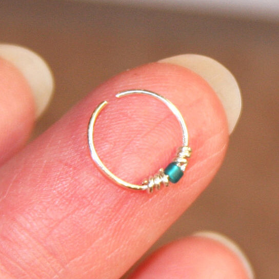 Buy Small Nose Ring, 20 22 24 gauge Teal Beaded Nose Ring ...
