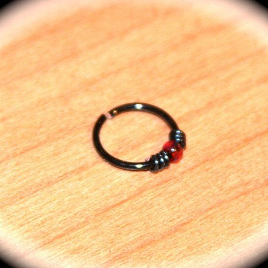 buy small beaded black wired cartilage hoop earrings