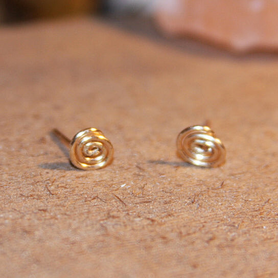 buy spiral gold stud earrings swirl cartilage earrings