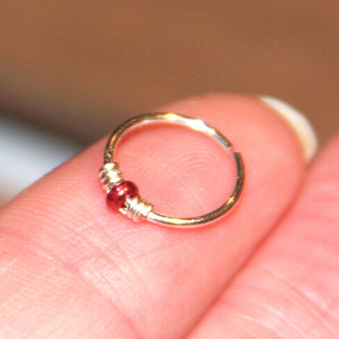 Buy Sterling Silver Nose Ring Metallic Red Beaded Nose