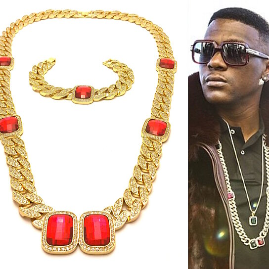 Buy Mens Iced Out Red Ruby Gold Miami Cuban Link Chain