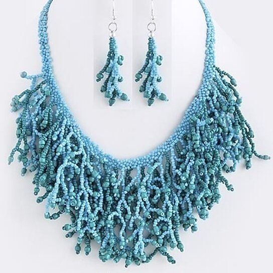 Buy New Women Fashion Sea Life Theme Seed Bead Coral Design Necklace Set Teal By Bitter Sweet