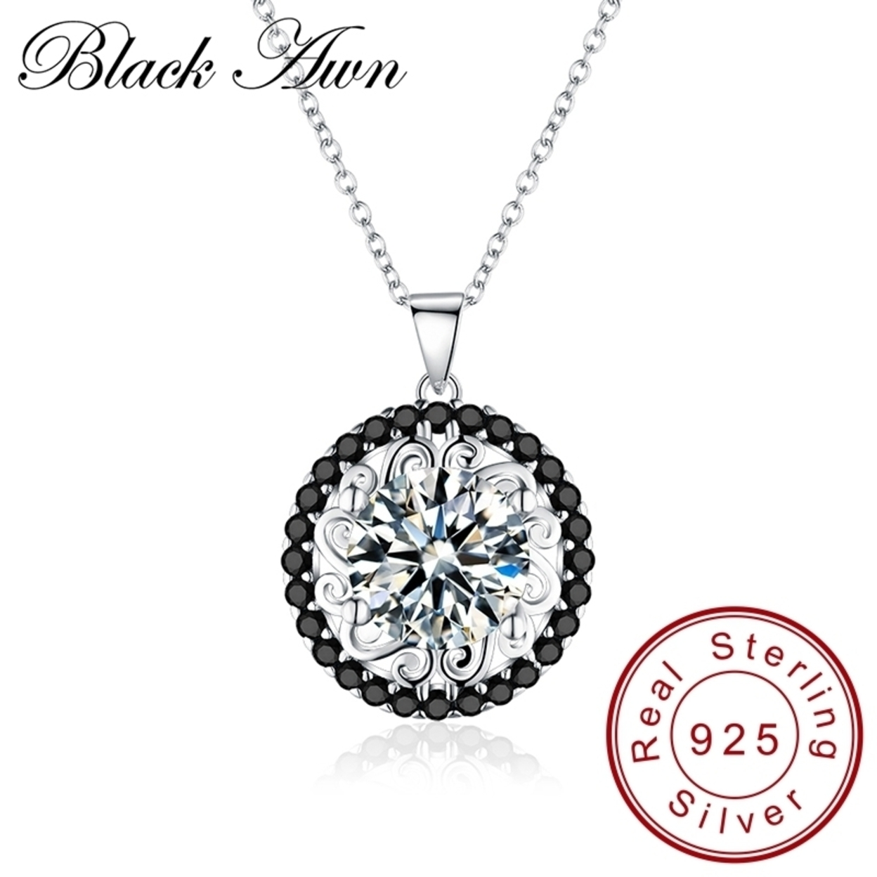 Fine Genuine 100% 925 Sterling Silver Slide Necklace Women Jewelry Classic Round Necklaces&pendants P113