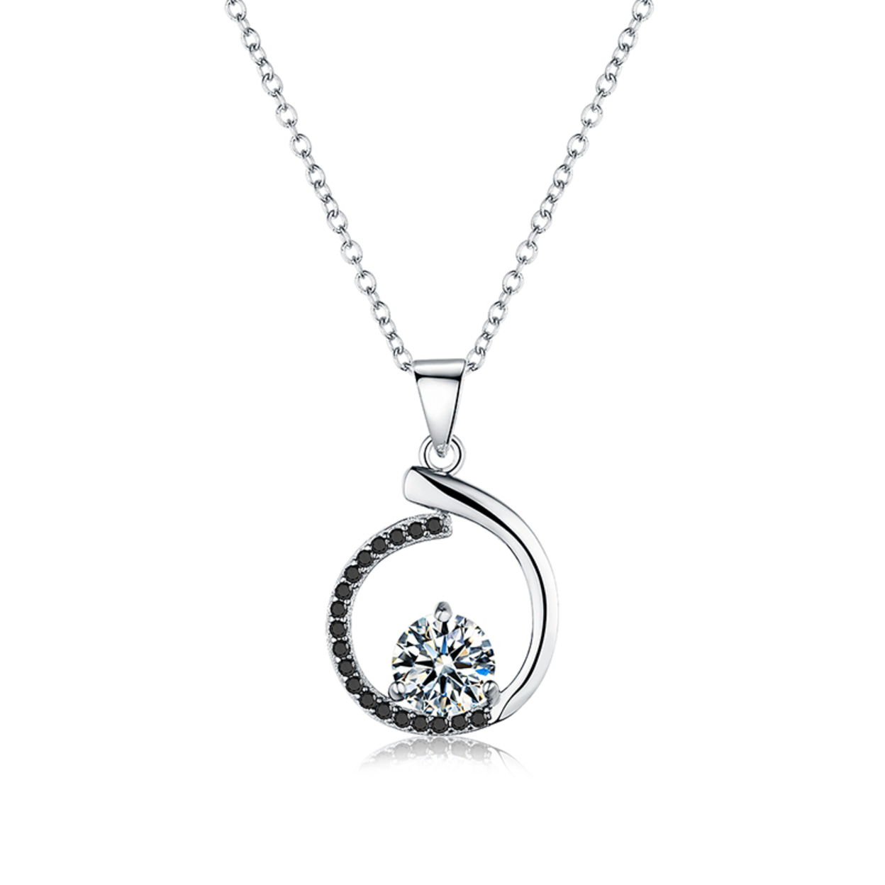 Genuine 925 Sterling Silver Necklaces&pendants Jewelry Trendy Black&white Stone Necklace Women P085