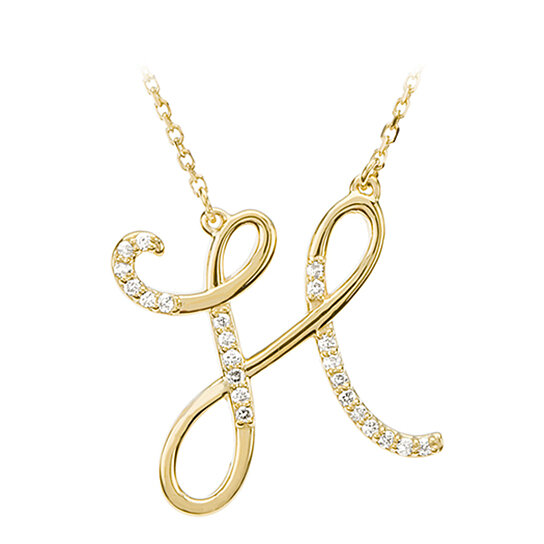 buy script initial necklace in 14 karat yellow