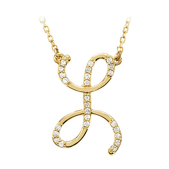 Buy diamond script initial necklace in 14 karat yellow for Gold necklace with letter l