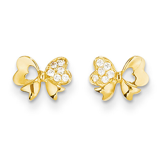 back post earrings buy cubic zirconia bow friction back post 3135