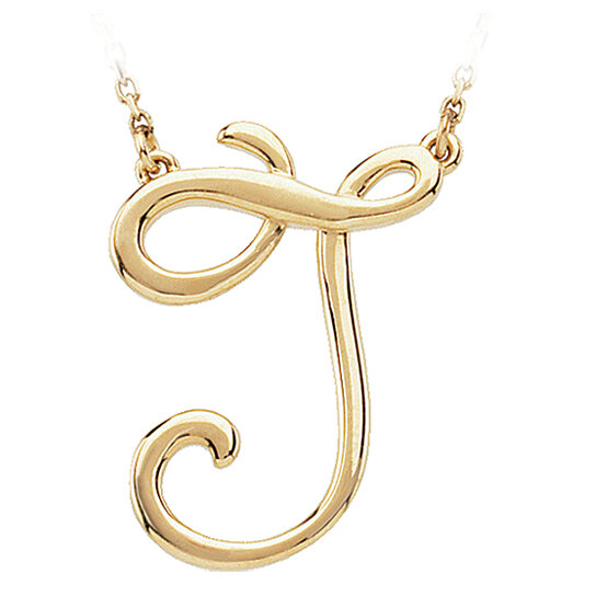 buy script initial necklace in 14 karat yellow gold letter