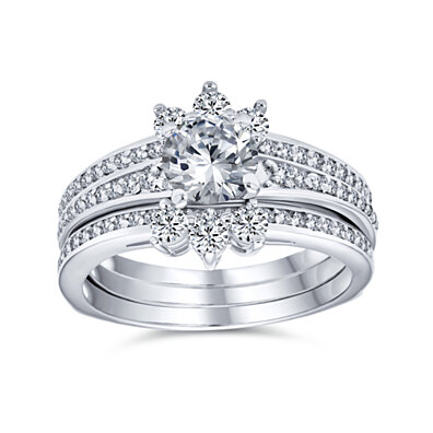 2.5CT Solitaire Marquise AAA CZ Band Inset Guard Enhancers Engagement Wedding Ring Set For Women 925 Sterling Silver