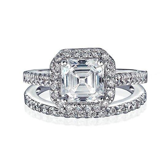 Asscher Cut Halo Art Deco 925 Silver Ladies Wedding Engagement Bridal Band Ring