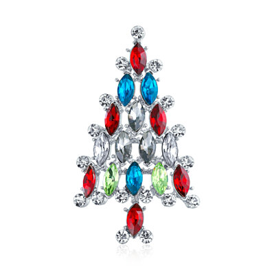 Bling Jewelry Marquise Cubic Zirconia CZ Green Red Fashion Christmas Holiday Round Wreath Brooch Pin for Women 14K Gold Plated Brass