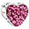 Bling Jewelry 925 Silver Heart Bead Make Love Not War Pink Crystal Fits Pandora