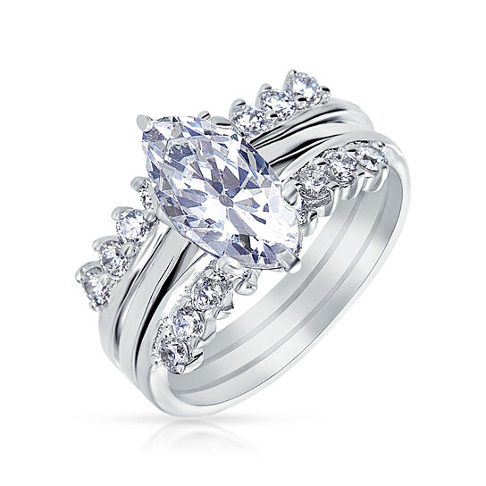 buy bling jewelry 925 silver marquise cut cz engagement