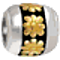 Bling Jewelry 925 Sterling Gold Vermeil Daisy Flower Barrel Bead Fits Pandora