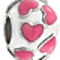 Bling Jewelry 925 Sterling Silver Pink Hearts Enamel Bead Charm Fits Pandora