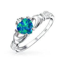Bling Jewelry Celtic Heart Gemstone Blue Opal Claddagh Ring 925 Sterling Silver