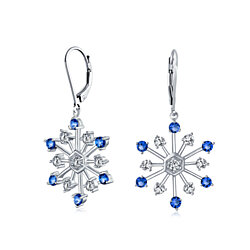 Bling Jewelry CZ Sapphire Color Round Glass Snowflake Leverback Earrings