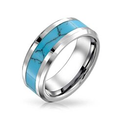 Bling Jewelry Mens Tungsten Blue Simulated Turquoise Inlay Wedding Band Ring