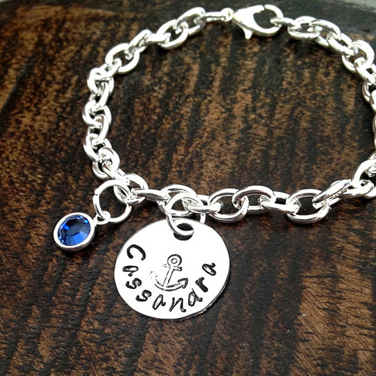 buy girls charm bracelet handstamped bracelet anchor. Black Bedroom Furniture Sets. Home Design Ideas