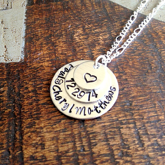 Wedding Gifts For Couple Jewellery : Handstamped Jewelry Date Jewelry Couples Necklace Wedding Gift Gift ...