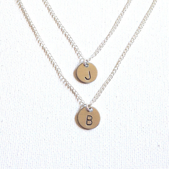 Buy Layered Initial Handstamped Necklace Silver Initial