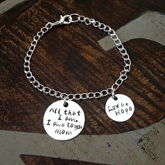 Mom Bracelet Gift For Handstamped Charm Mother Of The Bride Personalized Quote Daughter By Blue Eyed