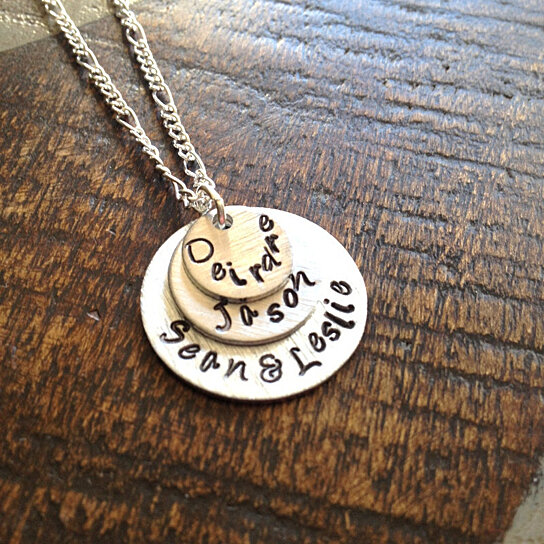 buy mom necklace heart necklace handstamped mother