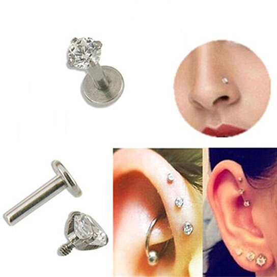 1 Pc Cz Tragus Lip Ring Ear Cartilage Stud Earring Body Piercing Jewelry 3mm By Bluelans On Opensky