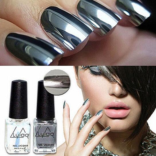 Buy 2Pcs Nail Gel Polish Silver Color Mirror Chrome Effect Varnish + ...