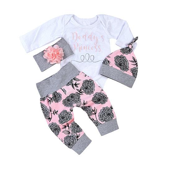Buy 4Pcs Set Newborn Baby Girl Sweet Letters Romper Flower Pants Hat  Headband Outfit by Bluelans on OpenSky 59e1d6dcd40