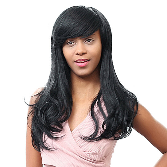 Buy African American Real Human Hair Party Black Long Curly Wig With