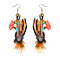 Creative Multi-Color Feather Pendant Dangle Hook Earrings Lady Banquet Jewelry