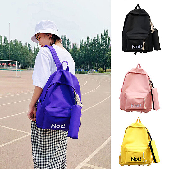 31df8b19083 Buy Fashion Letters Nylon Student Girls Travel School Backpack with Pencil  Bag by Bluelans on OpenSky
