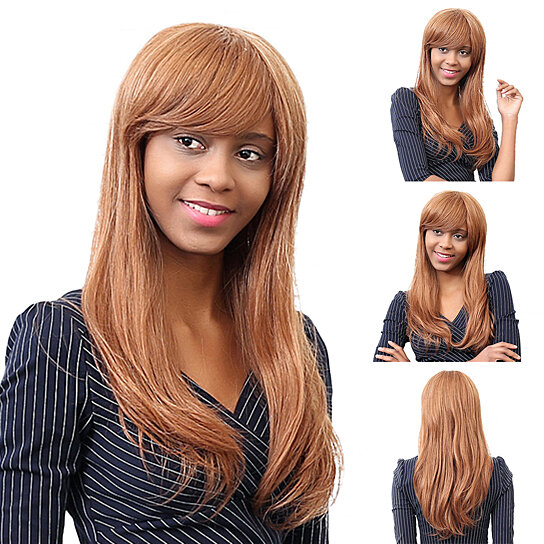 Buy Fashion Sexy Human Hair Side Swept Bangs Long Straight Wig Party