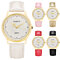 Faux Leather Strap Rhinestone Round Dial Net Grid Pattern Quartz Wrist Watch
