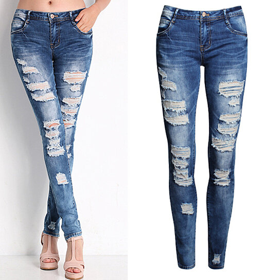 803f61be5845e Buy Ladies Sexy Ripped Jeans Casual Elastic Denim Slim Pencil Long Pants  Gift by Bluelans on OpenSky