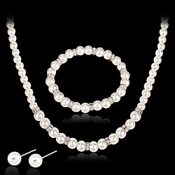 d29008e09 Lady Girl Wedding Bridal Faux Pearl Necklace Earrings Elegant Jewelry Set  Gift · Turquoise ...